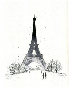 Print version now available. Original has sold. Watercolor and Pen Paris in the Winter by JessicaIllustration, $25.00