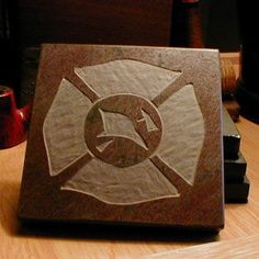 FIREMAN'S COASTER SET - Maltese Cross - Natural Slate Stone Coaster Set - More Designs Available. $29.00, via Etsy.