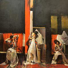 """ORTOLAN"""" Escena Teatral con Mujeres """" Oleo sobre tabla - 80 x 80 cm"""
