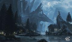 Split Mountains, Robert Schneiker on ArtStation at https://www.artstation.com/artwork/split-mountains