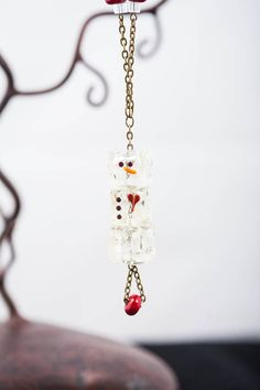 Christmas Lampwork Glass Snowman Necklace on Etsy, $20.00