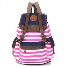 Unisex-Fashionable-Canvas-Backpack-School-Bag-Super-Cute-Stripe-School-College-Laptop-Bag-for-Teens-Girls-Boys-Students-Hot-Pink-Stripe-0
