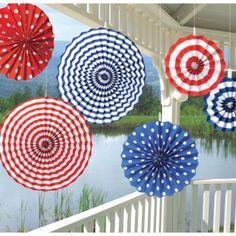 """Deko-Fächer: USA-Fächer """"American Summer"""", blau-weiß-rot, 6er-Pack • Länderdeko und Farben • USA / Amerika"""