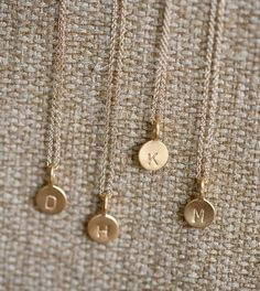simple gold necklace with monogram letter @Abigail Sterling can you make these?