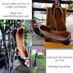 We can't get enough of this beautiful pair of juttis! Shop now at http://www.labelmansion.com/orange-blossom-juttis.html #labelmansion #shoes #happydespatches #floral #pretty #mondays #shoponline #india #juttis #mumbai