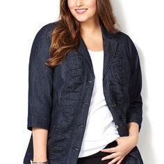 Ruched Denim Jacket-Plus Size Jacket-Avenue