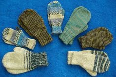 "Use your scraps of yarn and appropriate needles to make ""one size fits someone"" mittens. Baby Mittens Knitting Pattern, Beginner Knitting Patterns, Crochet Mittens, Fingerless Mittens, Knitting For Beginners, Knitting Socks, Knitting Projects, Baby Knitting, Knitting Ideas"
