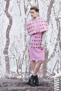 Fall 2013 Trend: Cape Escape  A cropped wool cape bedazzled with hearts from Honor by Giovanna Randall, worn with the designer's matching skirt and silk chiffon blouse. Rachel Comey boots.  WWD tumblr         Emilio Pucci RTW Fall 2013