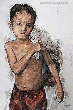 Niño pobre. 2016. Luis Cebrián AD. 40x60cm. Pintura digital.