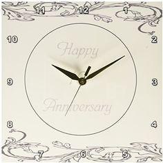 3dRose dpp_183454_1 Print of Elegant Silver 10Th Anniversary Greeting-Wall Clock, 10 by 10-Inch