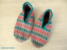 Hand knitted women's Turkish fair isle slippers by ALIFEINCOLOURS