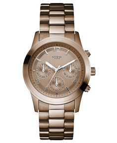 GUESS Watch, Women's Chronograph Bronze Tone Stainless Steel Bracelet 39mm…