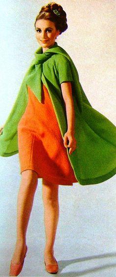 Model by:Givenchy.German Magazine:Burda International,Spring/Summer 1967.