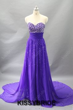 Long prom dress purple prom dress / chiffon prom by KissyBride