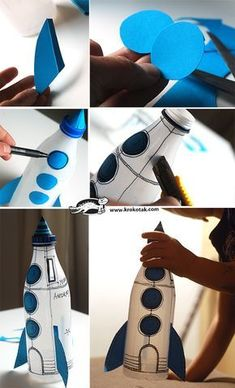all white party Plastic bottle rocket.as a piggy bank! This would be perfect for learning about the space coast. We would need to paint the bottles white with acrylic paint ahead of t Kids Crafts, Creative Crafts, Diy And Crafts, Recycled Crafts Kids, Diy Rocket, Rocket Ship Craft, Diy Bottle Rocket, Water Rocket, Rockets For Kids