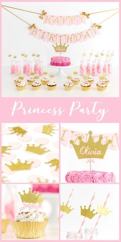 Princess Party Decorations.  Birthday  Girl Princess Ideas. Custom crown cake topper. Pink and gold glitter. First birthday ideas. Birthday girl. Wall banner. Cupcake toppers. Straws. Available in any colours: mint, lavender, silver.... Princesa. Corona. Second, third, fourth, five years old.