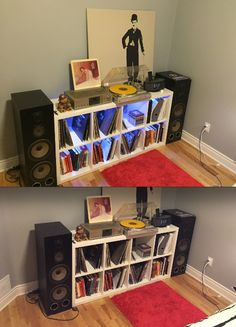 built-in mood lighting for the record shelves - love this idea!
