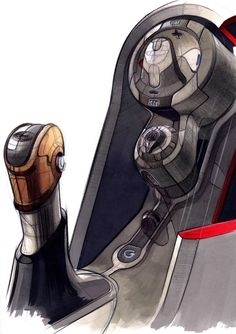 Original design drawing of the 2008 Ford Fiesta's gear shift