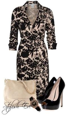Wrap dresses are the perfect work attire. Love the pattern on this dress! Classy Outfits, Cool Outfits, Casual Outfits, Fashion Outfits, Womens Fashion, Summer Outfits, Work Fashion, Fashion Looks, Jw Mode