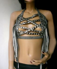 Worn out grey leather mesh harness top with long by DreamWarriors