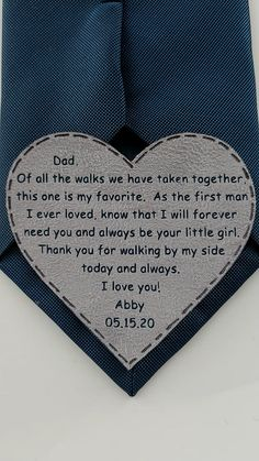 sentimental wedding gift, tie patch father of the bride personalize You are in the right place about wedding parties diy Here we offer you the most beautiful pictures about the wedding parties indoor Cute Wedding Ideas, Wedding Tips, Wedding Bride, Perfect Wedding, Fall Wedding, Rustic Wedding, Our Wedding, Dream Wedding, Wedding Parties