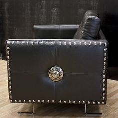M.NRSOFA1-C1 NEW ROCK BLACK LEATHER SOFA 2PL  Yeah those studs? They're skulls. *dies*