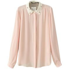 Choies Pink Bright Chiffon Shirt With Perl Collar ($20) ❤ liked on Polyvore featuring tops, pink, pink top, pink chiffon shirt, bright pink top, pink collared shirt and shirts & tops