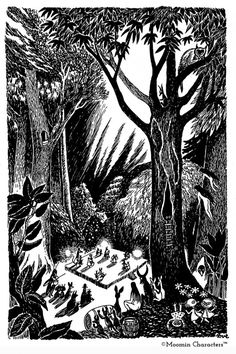 """Tove Jansson >>> From """"Comet in Moominland,"""" I believe - the creatures dance by the light of the approaching comet. Although I could be completely wrong about that - I haven't read any of the books in quite a while. Illustrators, Art Inspo, Painting Illustration, Drawings, Illustration Art, Abstract Artwork, Tove Jansson, Art, Forest Illustration"""