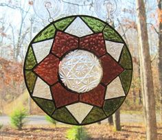 Stained Glass 3D Panel, Geometric in Sage Green, Rose, & Clear Vintage Plate
