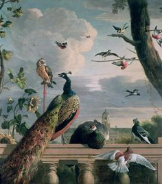"""a-l-ancien-regime: """" Palace of Amsterdam with Exotic Birds, by Melchior d'Hondecoeter """""""