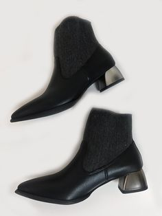 FINAL SALE -- No Returns or Exchanges All Black Footwear genuine leather and textile upper with metallic block heel (approx 1 inch) Bb Style, Block Heels, All Black, Chelsea Boots, Slippers, Footwear, Booty, Leather, Shoes