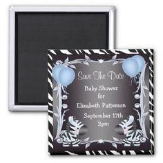 Cute Blue Zebras Save The Date Baby Shower Fridge Magnet