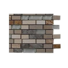 Splashback Tile Arizona Rain Blend Pitzy Brick Glass and Marble Mosaic Tiles - 6 in. x 6 in. Tile Sample-R4C8 at The Home Depot