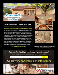 A Cambridge Heights GREAT VALUE for this newly updated gorgeous Ahwatukee area home!  We have more at www.phoenixareahomesearchnow.com   Call us now! 480-462-5845