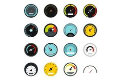 Speedometer icons set, flat style by Ylivdesign on @creativemarket