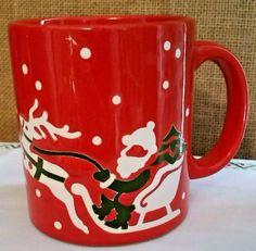 Waechtersbach Red Santa Sleigh Reindeer Coffee Cup Mug West Germany VGC  #Waechtersbach