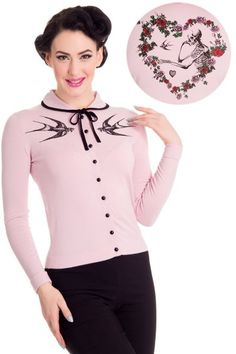 Love Cardigan by Hell Bunny is a pink fitted cardigan with black knit collar with knitted bow to fasten.