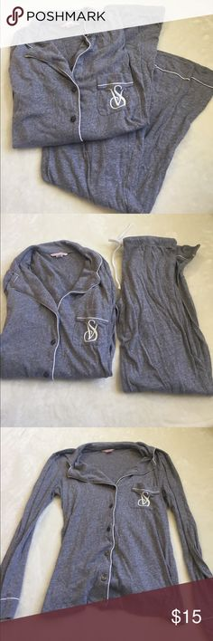 gray victoria's secret pajama set size small gray victoria's secret pajama set size small long. good condition. bundle with other items for an even deeper discount. Victoria's Secret Intimates & Sleepwear Pajamas