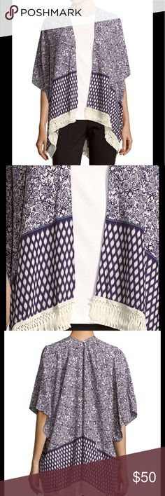 """🆕 Paisley Boho Blue Lattice Fringe Cover Up Beautiful Purple Paisley Print with Lattice Print. With a Fringed Hemline. A great staple to wear summer into fall in fashion😘. Lightweight open-front cape offers a chic layering option Open front, Cape sleeves, Pull-on style.  About 26"""" from shoulder to hem. Viscose. 081820171489754 Imported Bindya Swim Coverups"""