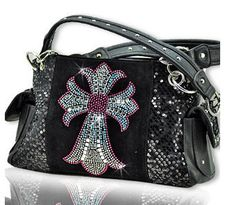 Western Hot Pink Cross Design Black Handbag #country #cowgirl #accessories #fashion #popular #womens #style #trendy #purse #bling #hunting #3d #boutique #buckle #western #religious