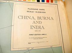 Army Map Service China Burma & India Planning Oversized Full