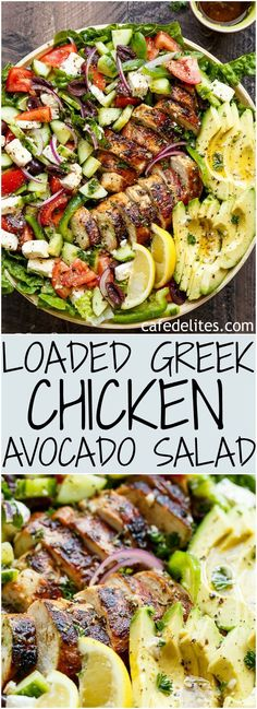 Loaded Greek Chicken Avocado Salad is another meal in a salad! Full of Greek flavours and a 5-ingredient dressing that doubles as a marinade! | https://cafedelites.com