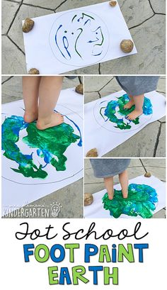 Get messy and paint with your feet for this activity, perfect for Earth Day in tot school, preschool, or the kindergarten classroom.