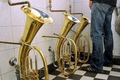 odd , curiosity tuba toilets , oompah band deaths must be big here if there are so many instruments left around to use in such a freaky way These unusual urinals at a pub in Freiburg, South Germany, were put in by landlord Martin Hartmann Cool Ideas, Gouts Et Couleurs, Cool Toilets, Toilette Design, Bizarre, Duravit, Unusual Things, Trombone, Reuse Recycle