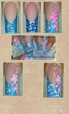 Saida nails Glitter and color & glitter acrylic powders available at… Beautiful Nail Art, Gorgeous Nails, Pretty Nails, Powder Glitter Nails, Glitter Nail Art, Glitter Vinyl, Butterfly Nail, Flower Nail Art, Fancy Nails