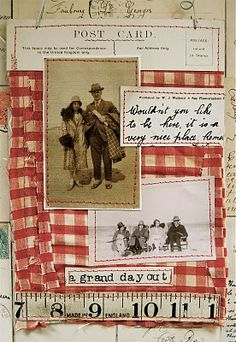 Love this altered vintage piece with red checked fabric