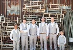 Galleano Winery Wedding. Erin and Clinton. Grooms Men all in Grey and White