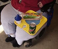 homemade tray for power wheelchair - Outreach Therapy Consultants