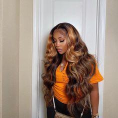 tadiorx Baddie Hairstyles, Weave Hairstyles, Pretty Hairstyles, Wig Styles, Curly Hair Styles, Natural Hair Styles, 100 Human Hair, Human Hair Wigs, Ombre Wigs