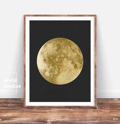 Gold Moon Print, Moon Phases Wall Art, Moon Poster, Gold Moon Decor, Luna Print, Full Moon Wall Print, Printable Moon, Minimal Bedroom Decor
